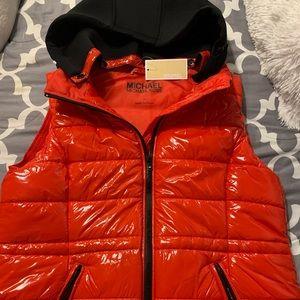 NWT Shiny red Michael Kors with black hood